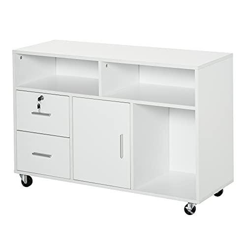 HOMCOM Bürocontainer mit Rollen, Aktenschrank, Büroschrank, Druckertisch mit 2 Schubladen, Aufbewahrung von Akten, Spanplatte, Weiß, 100 x 35 x 65 cm