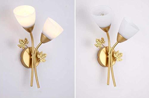 Nordic creatieve wandlamp, postmoderne dubbel glas lampenkap wandlamp, geschikt voor woonkamer slaapkamer trap voordeur wandlampen (E27 lichtbron), goud