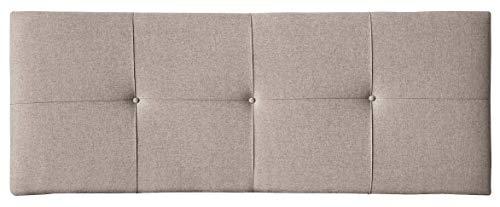 Tumueblekit Cabecero para Dormitorio tapizado en Tela Water-Repellent para Cama de Matrimonio. Color Piedra, Acolchado con Detalle de Botones, 160x60x8 cm