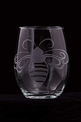 Honey Bee Stemless Wine Glass (with optional customization)