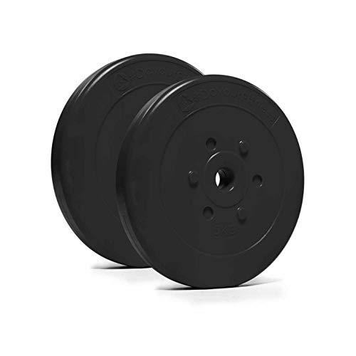 #DoYourFitness® Hantelscheiben ab 1,25kg bis 15kg - Lieferung stets 2X Gewichte - bodenfreundliche Kunststoffummantelung mit 31mm Bohrung (Lang- & Kurzhanteln bis 30/31mm) - Farbe : Schwarz 5kg