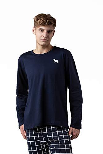 Pijama de algodón para hombre, dos piezas, pijama de manga larga Tablero de Ajedrez Marine Blanco M