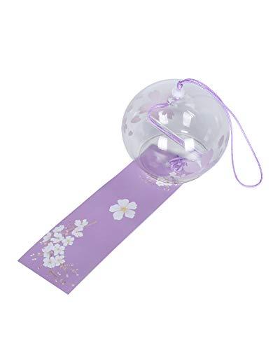 FBBULES Japanische Wind Glockenspiel Lila Kirschblüte, mit Tag - Glas Hängende Verzierung, 40cm, für Hausgarten Fensterdekor und als Geschenk