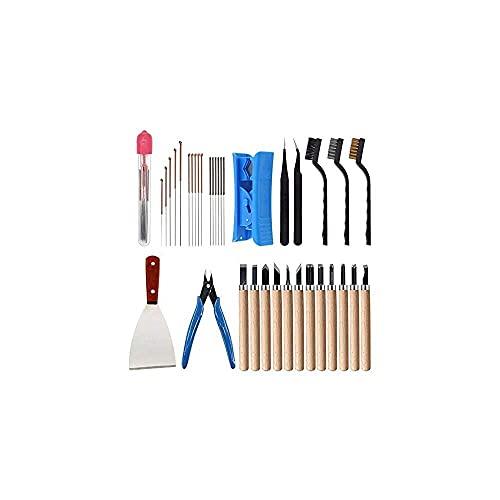 zhaita 35 piezas de kit de herramientas de impresora 3D 7 tamaños de pinzas de limpieza pinzas alicates raspador cepillo de limpieza cuchillo de limpieza