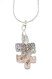 AGA Puzzle Shaped Resin Pendant Necklace