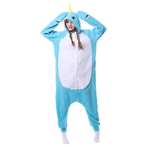 LSERVER Ropa de Dormir Disfraz de Cosplay para Adultos Traje de Unisexo Pijama de Forro Polar de Otoño e Invierno Estilo de Animales, Ballena Azul, S