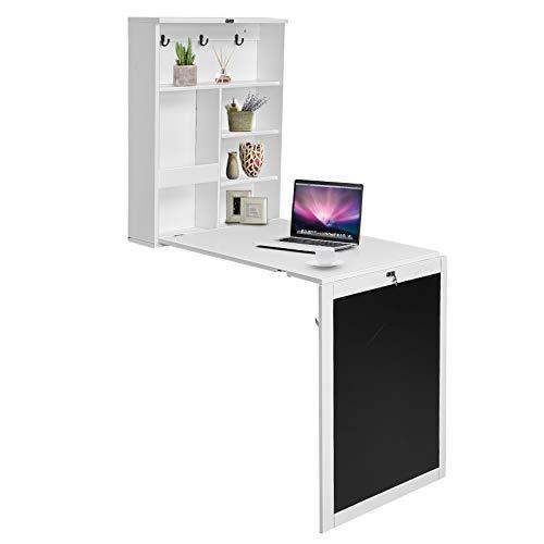DREAMADE Wand Klapptisch mit Tafel und Stauram, Wandtisch Bartisch aus Holz, Mehrzweck Wandklapptisch Verformbar, Wandschrank Schreibtisch für Wohnzimmer Küche Esszimmer (Weiß)