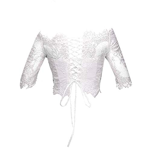 H.S.D Womens Off Shoulder Lace Appliques Jacket Wedding Bolero Ivory 20