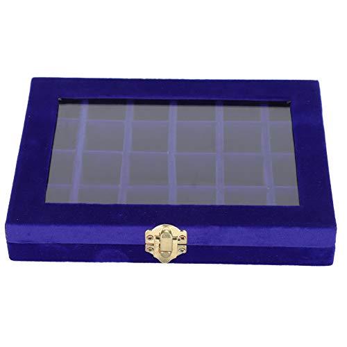 FOLOSAFENAR Schmuck Aufbewahrungskoffer Stilvolles Design Ohrring Aufbewahrungsbox mit einem Oberlicht 24 Separate Gitter, zur Aufbewahrung von Ohrringen, Ringen, Halsketten(Blue)