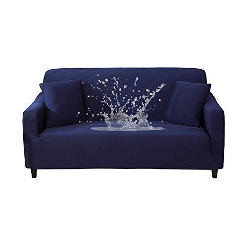 HOTNIU Wasserdichtes Stretch Sofa Schonbezug - 1-Piece Dehnbarer Stoff Couch Cover - Beflockt Muster Ausgestattet Couch Schonbezug (3-Sitzer, Navy)