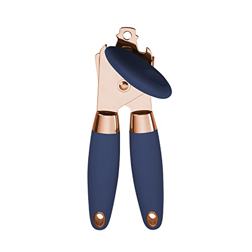 Cook With Color Deluxe Manual Rose Gold Quality Stainless Steel Can Opener With Durable Navy Blue Anti Slip Handles and Large Knob with Built In Bottle Cap Opener (Rose Gold and Navy)