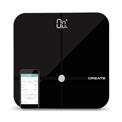 IKOHS BALANCE BODY SMART - Báscula de baño de bioimpedancia con App, Bluetooth, Android/IOS, Sensores, Display Led, Diseño Ligero y Plano, Cristal Templado, Biometría de hasta 24 usuarios (Negro)
