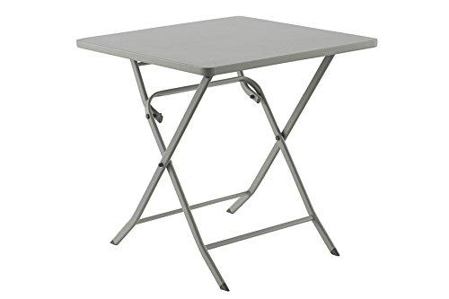 PEGANE Table Pliable Oregon carré Galet - Dim: L70 x D70 x H71cm