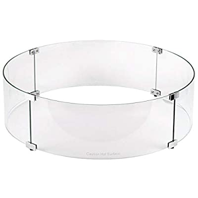 Midwest Hearth Fire Pit Wind Guard Glass Shield (Round, 23 Inch)