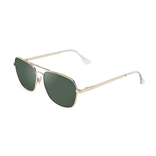 CLANDESTINE B-Pilot 18 Gold Dark Green - Gafas de sol Nylon HD Hombre & Mujer
