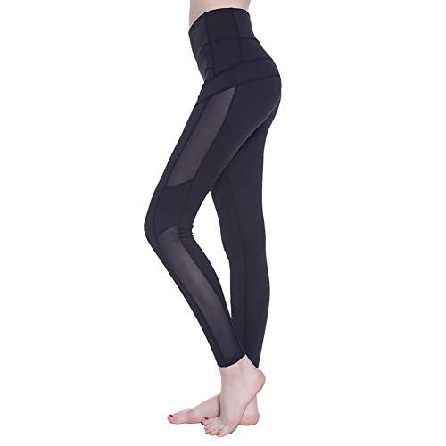 YUJIAKU Elastische hohe Taille Sexy Mesh Patchwork Hüfte drücken atmungsaktiv Nylon Stretch Yoga Bodybuilding Training Sportbekleidung Leggings