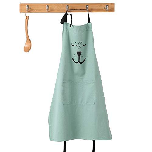 Lindong Süß Kartoon Schürze mit Tasche für Frauen Kinder Wasserdicht Baumwolle Leinen Küchenschürze Latzschürze Kochschürze Kinder Grün