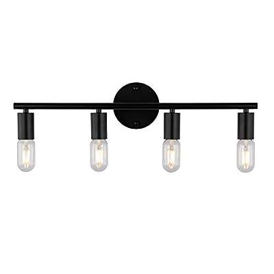 KRASTY Industrial Bathroom Vanity Light Fixtures,4-Light Vanity Lamp Black Metal Bathroom Light Fixtures Over Mirror Wall Light Sconces for Cabinets Dressing Table Vanity Light 2020-011BK-KR