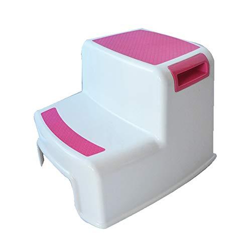 Jiamuxiangsi- Schritt Hocker Ottoman Kind Kunststoff Hocker Bad Anti-Rutsch-Hocker Handwäsche Fuß Baby Kleine Bank Leiter Schritt Töpfchen WC-Sitz (Farbe : Rosa)
