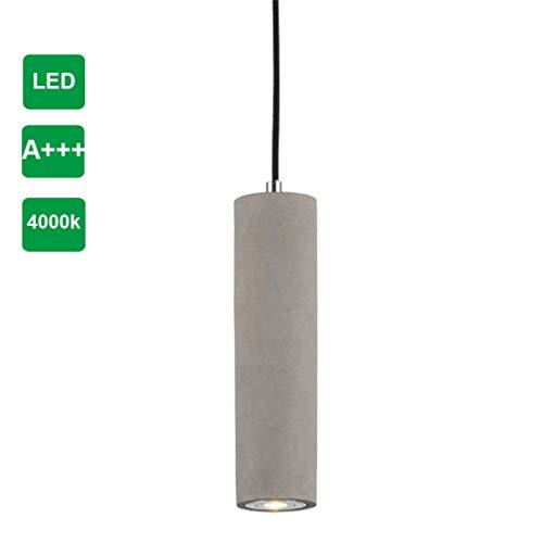 Industrielle LED-Pendelleuchte Zement Lampe Leuchte, LED-Hängeleuchte Küche-Leuchte aus Beton, LED-Deckenstrahler Zylindrisch Ø 7 cm, LED-Strahler LED-Spot (4500 Kelvin, H 27CM)