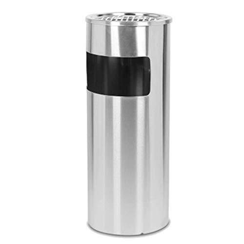 Edelstahl Abfalleimer rund Mülleimer Einkaufszentrum Hotel Aufzug Aschekühler Aufbewahrungsbox silberfarben