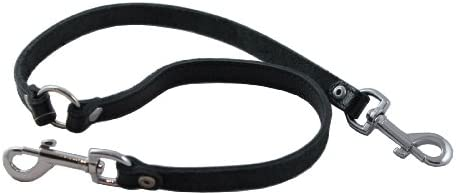 Genuine Leather Double Dog Leash Two Dog Coupler Black Small 15 Long by 1 2 Wide product image
