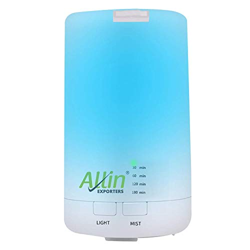 Allin Exporters EXCDUH1 USB Mini Humidifier Essential Oil Aroma Diffuser for Car, SUVs and Small Rooms Cool Mist Portable Air Refresher with 7 LED Colors (70ml )