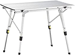 Portable folding roll Up aluminium table ,table for up to 6 persons with roll up top and high load capacity(up to 65 kg) The weatherproof folding table is also ideal for home use in the garden, on the patio, balcony or terrace or as an additional buf...