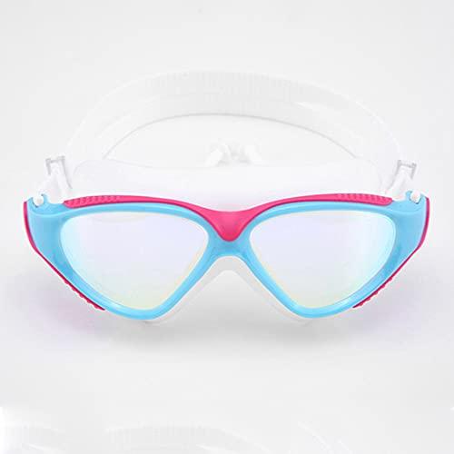 CellLucky Gafas de natación profesionales para adultos, impermeables, protección UV, antivaho, ajustable, color rosa, blanco, talla única)