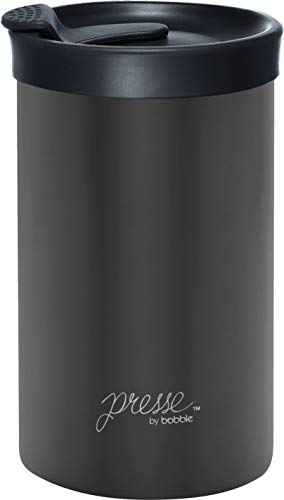 bobble BTC0001 Travel French Press and Portable Mug, Insulated Stainless Steel Tumbler with Micro Filter, 13 Ounces, 13 oz, Gunmetal