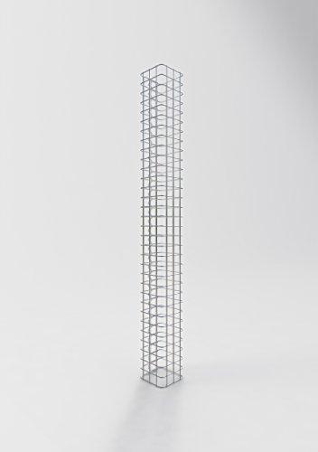 GABIONA Säule Steinkorb-Gabione eckig, Maschenweite 5 x 5 cm, Höhe 160 cm, Spiralverschluss, galvanisch verzinkt (17 x 17 cm)