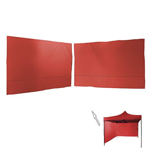Rebecca Mobili Set 2 Pareti Rosse, Telo per Chiusura Gazebo 3x3 mt, Poliestere, Impermeabile, Universale - Misure: 1,9 x 2,9 mt (HxL) - Art. RE6447