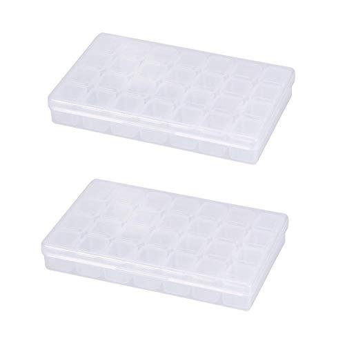 28 emplacements vide clair nail art décoration strass gemme boîte de rangement de conteneur de perles, boîte de rangement multifonctionnelle pour éviter la perte d'outil, outil de bit(2Pcs)