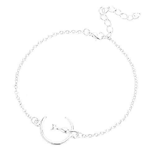 Vrouwelijke armband - vrouw - kat - maan - armband - vrouw - meisje - verstelbaar - hanger - zilver - mode - kerstmis - origineel cadeau-idee - sierraden - verjaardag - sieraden