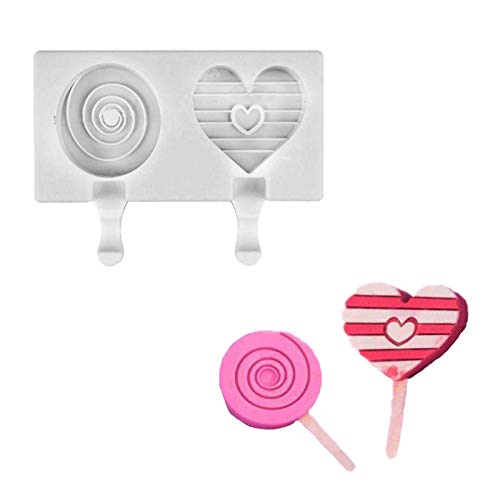 WOPODI 2 Cavities Silicone Popsicle Molds, Heart Round Mini Ice Cream Mold Ice Pop Makers for Ice Pop Makers Homemade DIY Ice Cream Maker Cake Ice Pops Mold Home Kitchen Accessories (White)