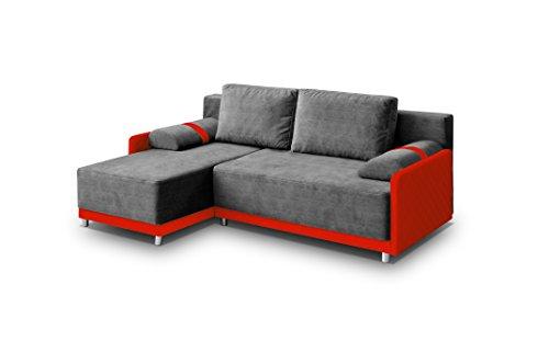 mb-moebel Ecksofa Sofa Eckcouch Couch mit Schlaffunktion und Bettkasten Ottomane L-Form Schlafsofa Bettsofa Polstergarnitur - Indiana (Ecksofa Links, Grau)