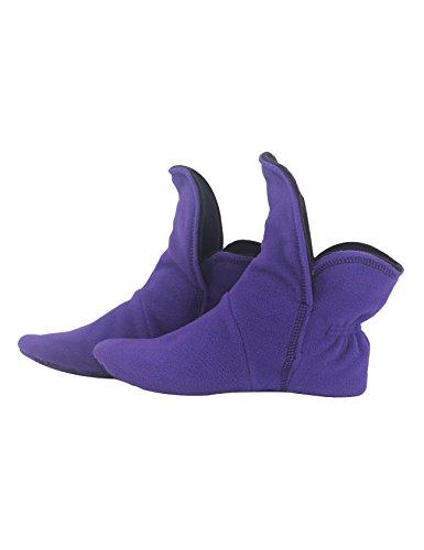 RAIKOU Hausschuhe für Damen, Herren für drinnen aus Micro Fleece mit ABS und Rutschfester Sohle,Haussocken Stoppersocken mit Super Flauschige Hüttenschuhe (Helllila/Schwarz,37/40)