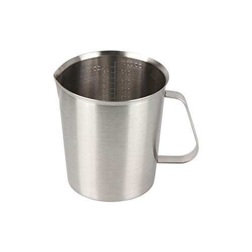 Kitchnexus Edelstahl Messbecher, Milchkännchen Messkanne für Küche Kaffee Latte Cappuccino- Milk Pitcher 1000ml
