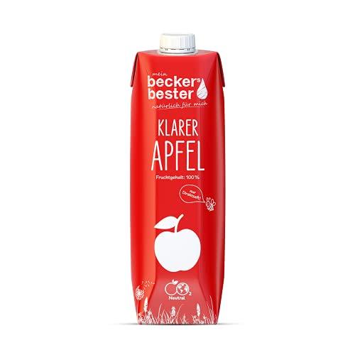 beckers bester Klarer Apfelsaft - 6er Pack - 100% natürlicher Direktsaft - Co2-neutral hergestellt – Vegan – Ohne Zuckerzusatz – Ohne Gentechnik – Glutenfrei – Laktosefrei - 6 x 1000 ml