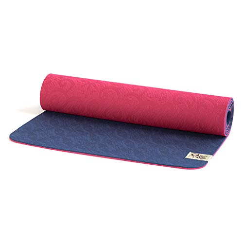 Re Yoga - Tappetino Yoga Ecologico in TPE Extra Comfort - Free Soft 6mm (Blu/Ciliegia)