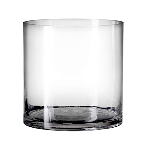 Jarrón cilíndrico Minimalista Transparente de Cristal para salón Basic - LOLAhome
