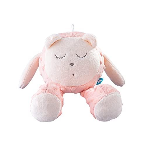 myHummy mit Sensor Teddybär Snoozy Pink White Premium | Baby White Noise Plüschtier | White Noise Machine - Heartbeat Wave Sound | Mein Hummy mit Schlafsensor Stofftier