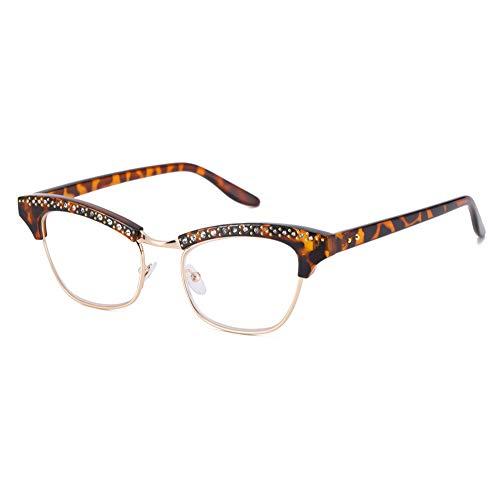 Leesbril voor vrouwen, leesbril, halve fitting met kattenoog, elegante bril, lichte beugel en comfortabele neuspads