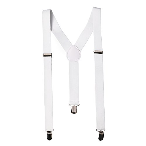 Wide White Suspenders by CoverYourHair