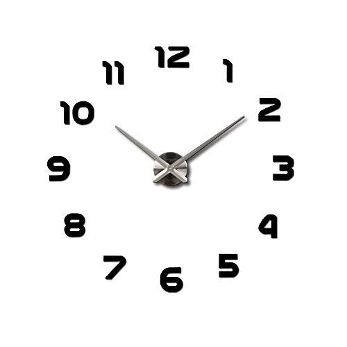 iMeshbean DIY Wanduhr Uhr 3D Wandtattoo Deko Design Spiegel Edelstahl Wand Uhr Groß XL für Dekoration Geschenk Nach Hause, Restaurant, Büro und Hotel (Schwarz)