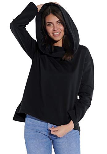 Vestino Sudadera con capucha para mujer con cuello de cascada en la parte delantera corta Negro M