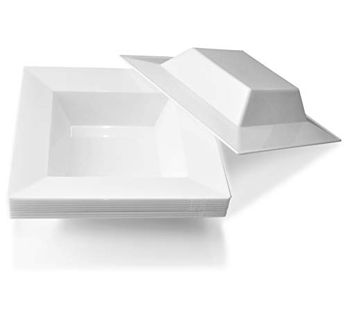 ' OCCASIONS' 40 Pieces Plates Pack, Heavyweight Disposable Wedding Party Plastic Bowls (5 oz Dessert Bowls, Square white)