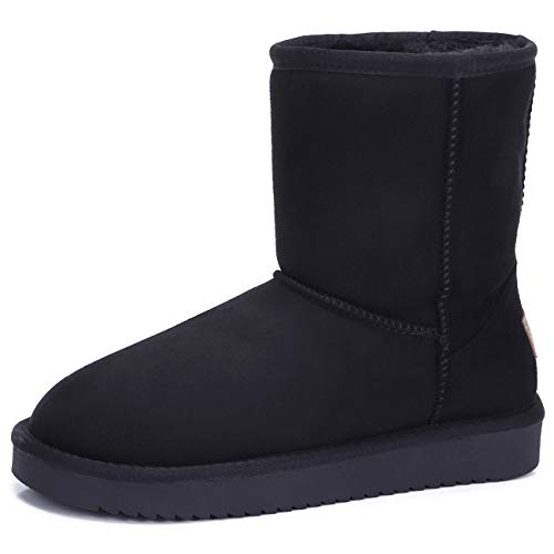 Women's Warm Winter Boots Ankle High Classic Vegan Suede Faux Sheepskin Shearling Snow Boots
