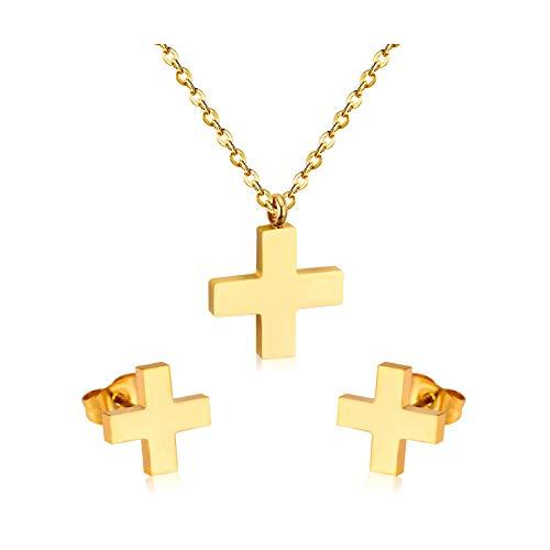KASHINO Acero inoxidable cristal boda joyería nupcial conjuntos cruz mariposa collar pendiente conjunto mujeres/hombres joyas-oro