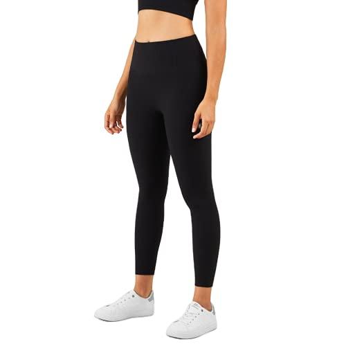 QTJY Leggings Nude, Pantalones de Yoga Acanalados elásticos para Ejercicios de Fitness para Mujeres, Leggings de Sentadillas sin Costuras A Large